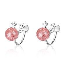 Fashion Christmas Deer Elk Animal Rhinestone 925 Sterling Silver Lady Clip Earrings Jewelry Women Gift Cheap