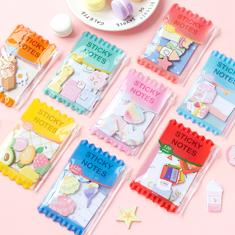 120 Pcs Reative Candy Bag Combination N Times Self-Adhesive Memo Pad Cute Fruit Ocean Sticky Notes Bookmark School Office Supply