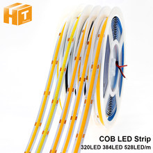 ¡COB LED de 320 de 384, 528 LEDs de alta densidad FOB COB luces LED flexibles DC12V 24V RA90 3000K 4000K 6000K LED cinta 5 m/lote!(China)