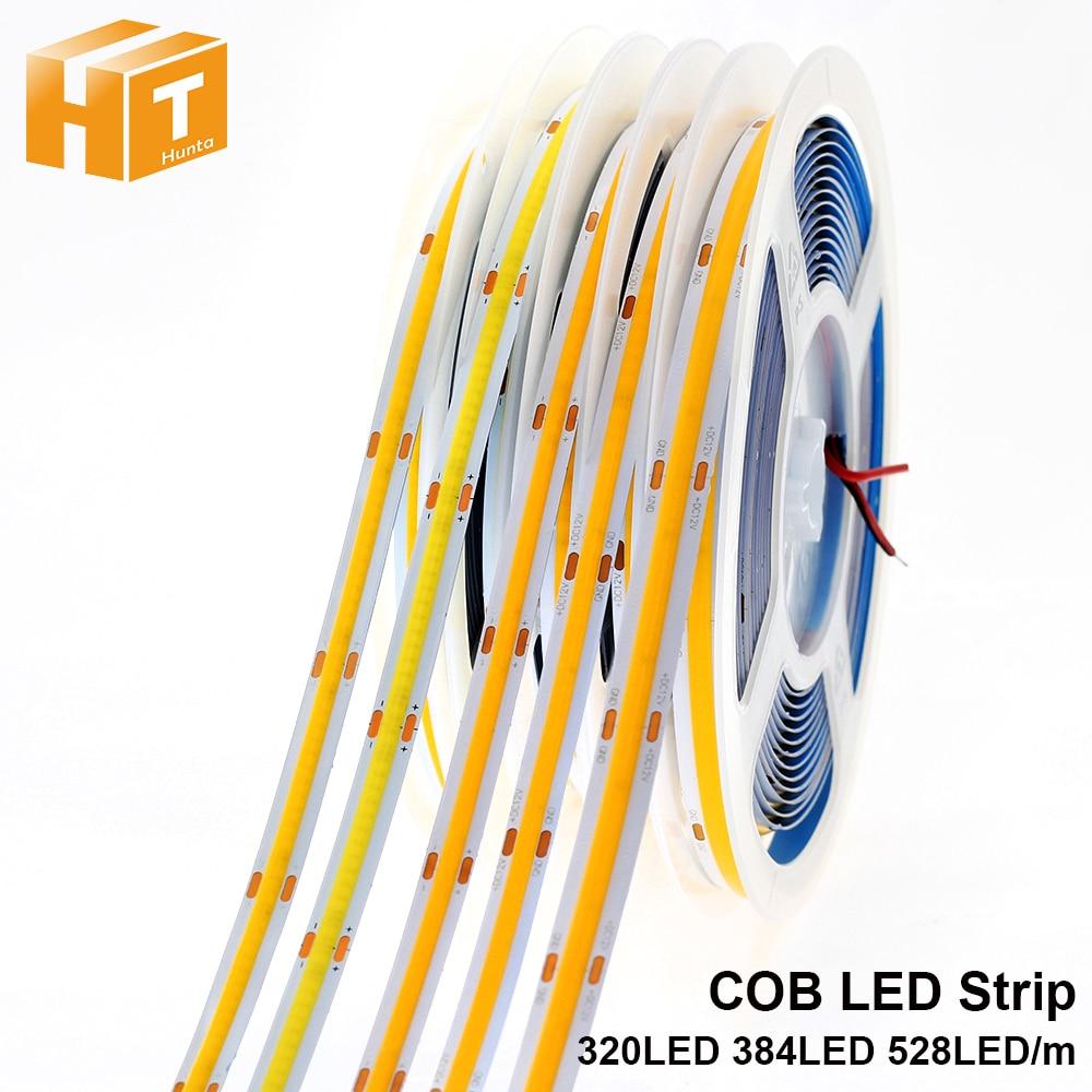 COB LED Strip 320 384 528 LEDs High Density Flexible COB LED Lights DC12V 24V RA90 3000K 4000K 6000K LED Tape 5m/lot.