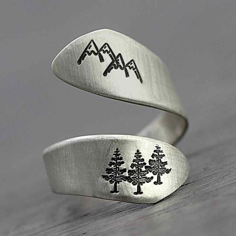 Hainon แฟชั่น Mountain Design แหวนเงินสีนิ้วมือ Vintage แหวนผู้ชายผู้หญิง Punk กว้างปรับแหวนเครื่องประดับ