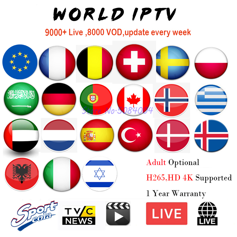 World Iptv subscription 9000 live 8000 VOD Europe France Belgium Poland Spain Italy Germany Qtar Portugal Sweden m3u iptv code