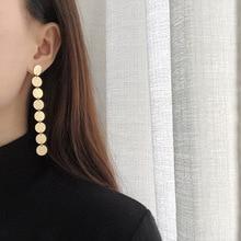 Amaiyllis 14k Gold Coins Tassel Earrings Women Color long Dangle Bohemia Jewelry Statement