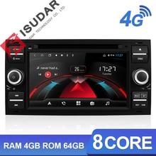 Автомобильный мультимедийный плеер Isudar H53, GPS, Android, 2 Din, для Ford/Mondeo/Focus/Transit/C MAX/KUGA, 8 ядер, ОЗУ 4 Гб, DVR, Авторадио, DSP DVD