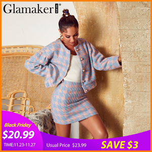 Glamaker Sweet pearl button women 2 piece suits Sexy Plaid check coats and A-line skirt ladies sets Elegant chic autumn winter