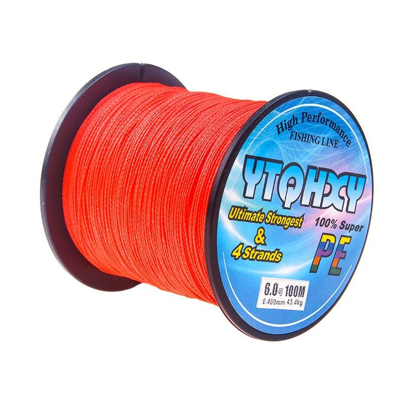 4 серии, 100 метров, сильная Конская леска, основная леска, PE леска, ткацкая рыболовная снасть, кайт леска, многофиламентная рыболовная леска - Цвет: Красный