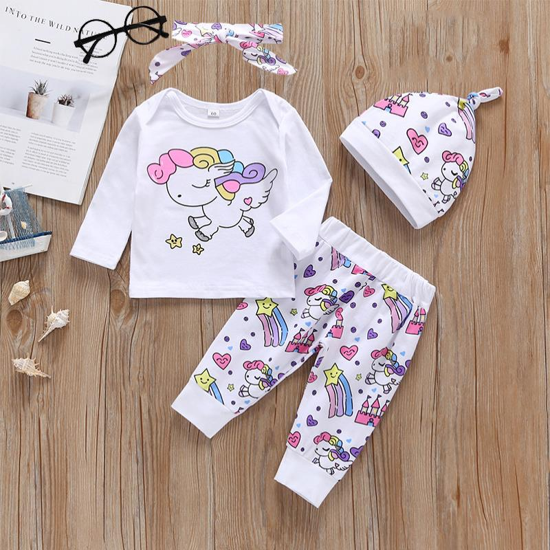4 Pieces Newborn Infant Baby Girl Clothing Sets Infant 2019 Fashion Rainbow Cartoon Unicorn Tops+Pegasus Star Castle Pants+Hat