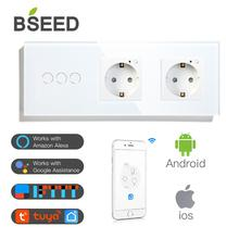 BSEED Double WiFi EU Sockets 3Gang 1Way Switch With White Black Gloden Crystal Glass Panel Control by Alexa Google Tuya