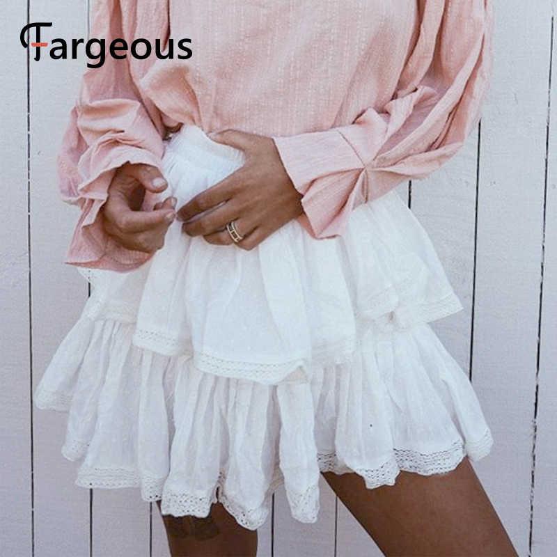 Fargeous מזדמן לבן לפרוע מנוקדת קצר חצאית נשים 2019 קיץ אופנה גבוהה מותניים תחרה חצאית ילדה חג חצאית