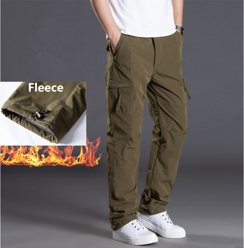 Winter Double Layer Fleece Pants Men Casual Thick Warm Straight Trousers Overalls Multi Pockets Loose Baggy Military Cargo Pants