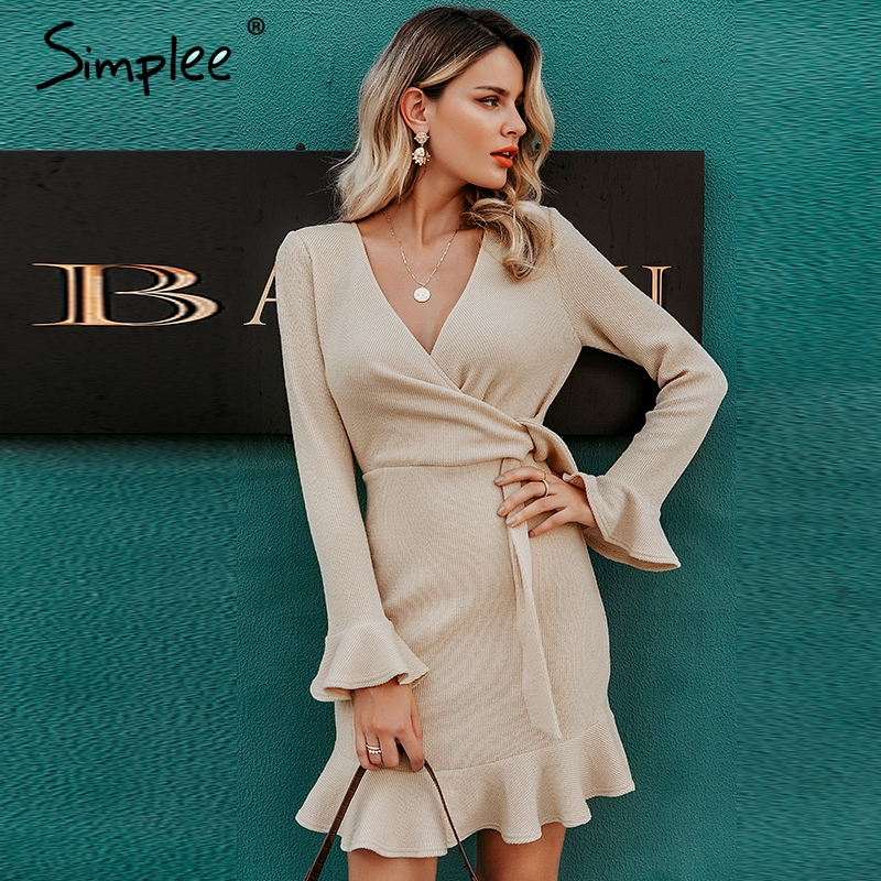 Simplee Streetwear Women Knitted Dress Sexy V-neck Ruffled Long Sleeve Sweater Dress Elegant Bow High Waist Autumn Winter Dress