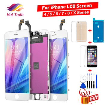 Grade AAA LCD Screen For iPhone 4 4S 5 5s 5C SE LCD Touch Display For iPhone 6 6S 7 8 Plus X 3D+Tempered Glass+Case+Waterproof