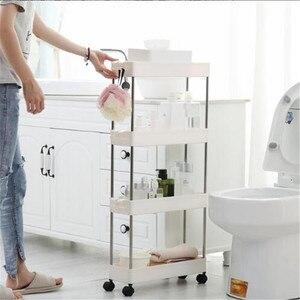 Пластиковая Полка для хранения кухни, 2/3/4 слоя, полка для ванной комнаты, компактный органайзер, тонкий скользящий стеллаж, подвижная сборка