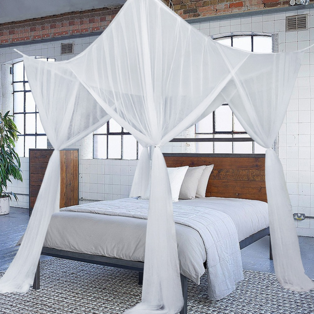 - European Style Bed Canopy Mosquito Net 4 Corner Full Netting For