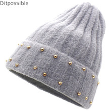 Ditpossible new knitted fashion beanies women winter hats skullies caps gorro striped touca hat fashion 2017 winter hats for women beanie knitted casual caps skullies bone girls solid color hairball hat ladys gorro touca