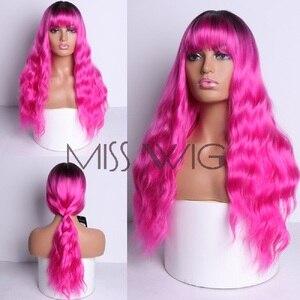 Image 1 - MISS WIG, длинные волнистые парики для черных женщин, афро американские синтетические волосы, серые, коричневые парики с челкой, термостойкий парик