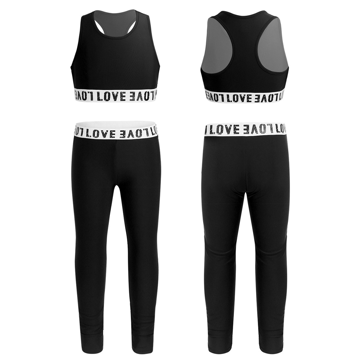 inhzoy Kids Girls Ballet Dance Wear Athletic Outfit Racer Back Tanks Crop Top with Leggings Set for Workout Gym Exercise