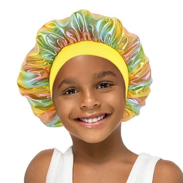 Детская атласная широкая шапочка шелковая Лазерная шапка для