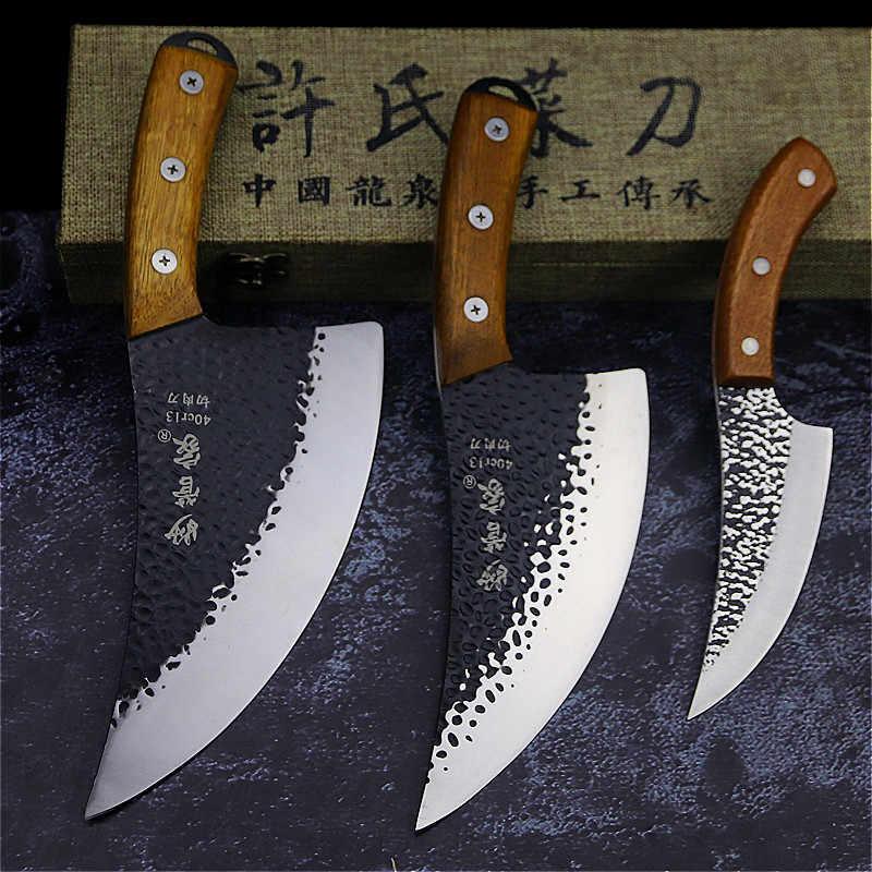 24.5 centimetri forgiato a mano da chef Tang, fette di coltello da cucina, di alta acciaio al carbonio lama esterna, coltello da macellaio + Custodia In Pelle