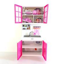 Для девочек ABS Моделирование мини-шкаф игрушечная плита для детей кухонный набор для приготовления пищи дети ролевые игры игрушка кукла дом техника шкаф набор