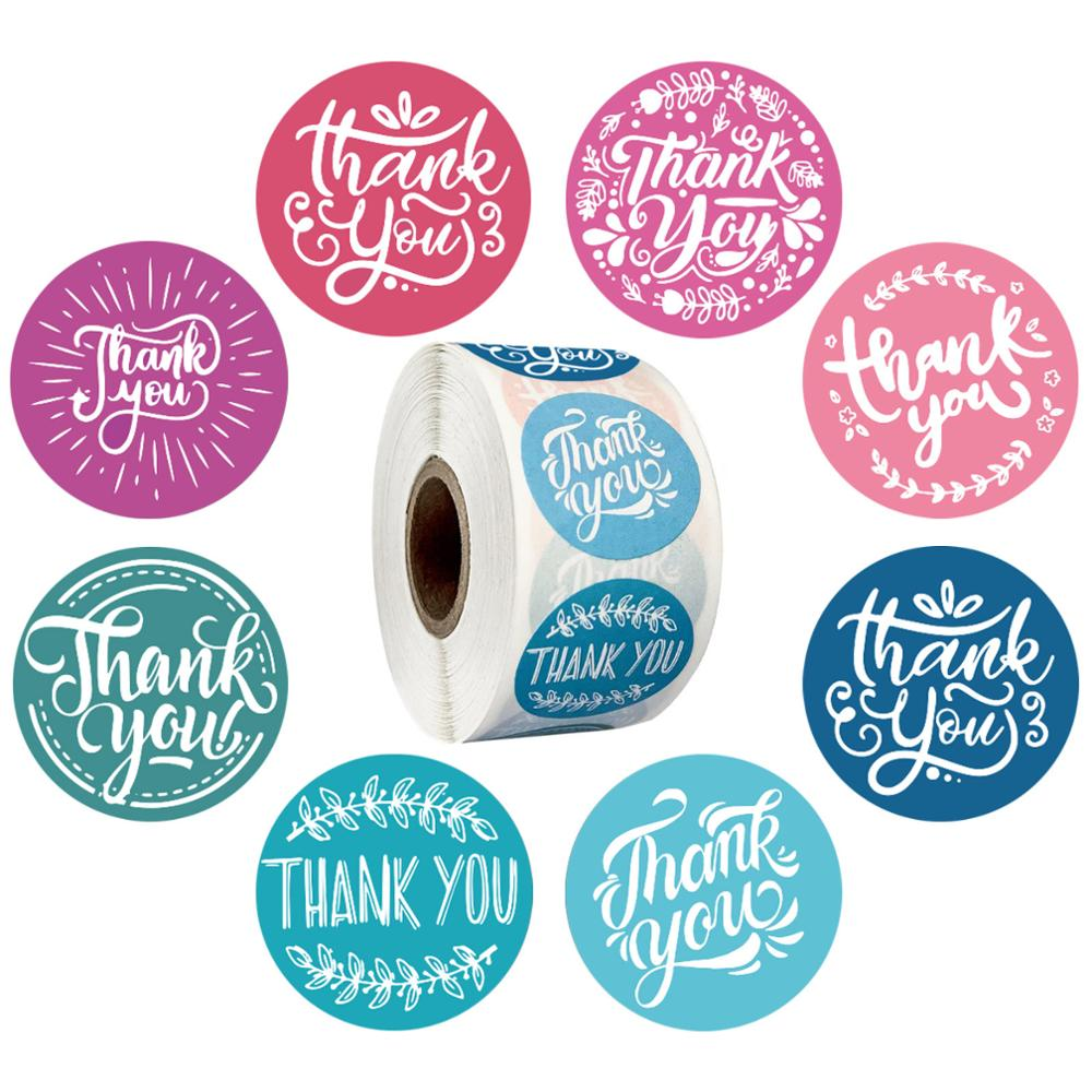 Thank You Sticker Seal Labels Round Multi Color Design 500 Labels Sticker Per Roll For Cute Scrapbooking Stationery Sticker