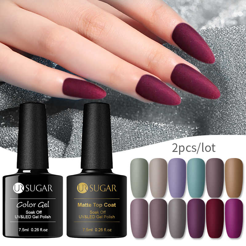 UR Gula Matte Uv Gel Nail Polish Matte Top Coat Warna Uv Gel Nail Art Pernis Hybrid Rendam Off Gel lacquer Manicur Gel Polandia