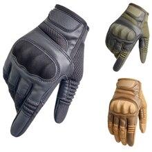 Перчатки мужские кожаные, тактические резиновые митенки с твердыми костяшками для сенсорных экранов, в стиле милитари, для пейнтбола, страй...