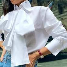 White Blouse Tops Office-Shirts Long-Sleeve Blusas Autumn Elegant Plus-Size Casual Women's