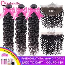Gabrielle onda de água pacotes com frontal 100% cabelo humano 13x6 rendas frontal com pacotes cabelo brasileiro tecer pacotes cabelo remy