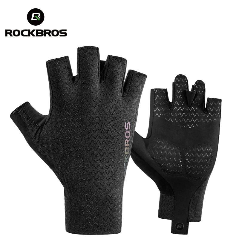 ROCKBROS Cycling Gloves Autumn Spring MTB Bike Gloves SBR Pad Half Finger Bicycle Goves Men Women Breathable Shockproof Gloves