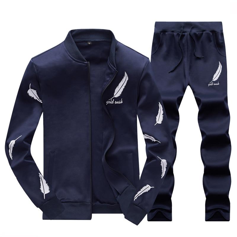 Men Fashion Sets 2PC Autumn Two Pieces Casual Tracksuits Male Zipper Sweatshirt+Sweatpants Suits Men Plus Size 2PC Sportswears 2
