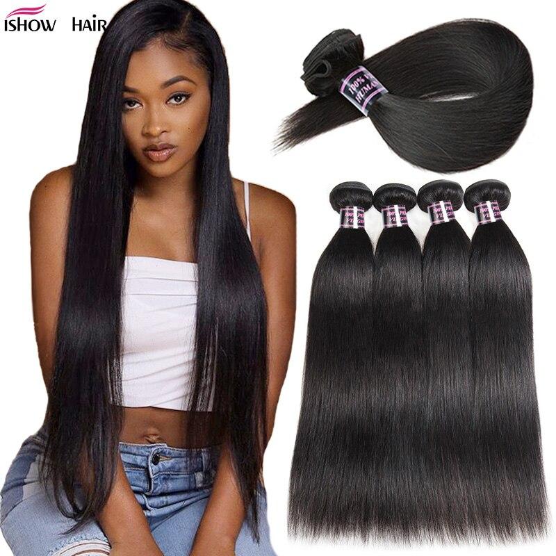 Ishow feixes de tecer cabelo brasileiro feixes de cabelo em linha reta cor natural 100% feixes de cabelo humano não-remy cabelo reto brasileiro