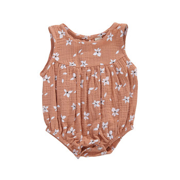 0-18M Newborn Cotton Linen Romper Baby Girls Sleeveless Floral Print Button Romper Infant Toddler Soft Outfit Sunsuit Clothes - C, 3M