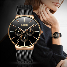 2020 Watches Women Super Slim Mesh Stainless Steel LIGE Top Brand Luxury Casual Quartz Clock Ladies WristWatch Relogio Feminino цена и фото
