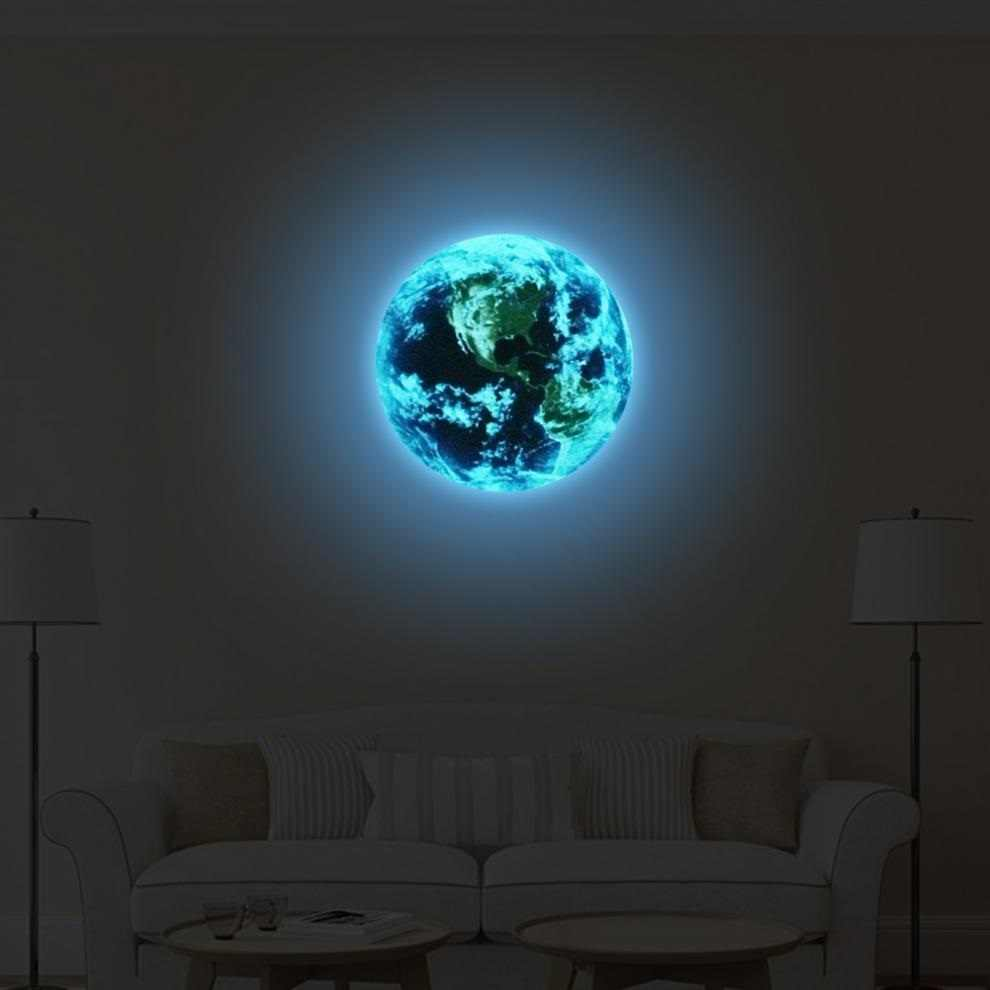 1pcs Stick Up Stickers 5cm Cartoon Wall Kids Bedroom Glow In The Dark Wall Moon Earth Stickers Cartoon DIY 3D