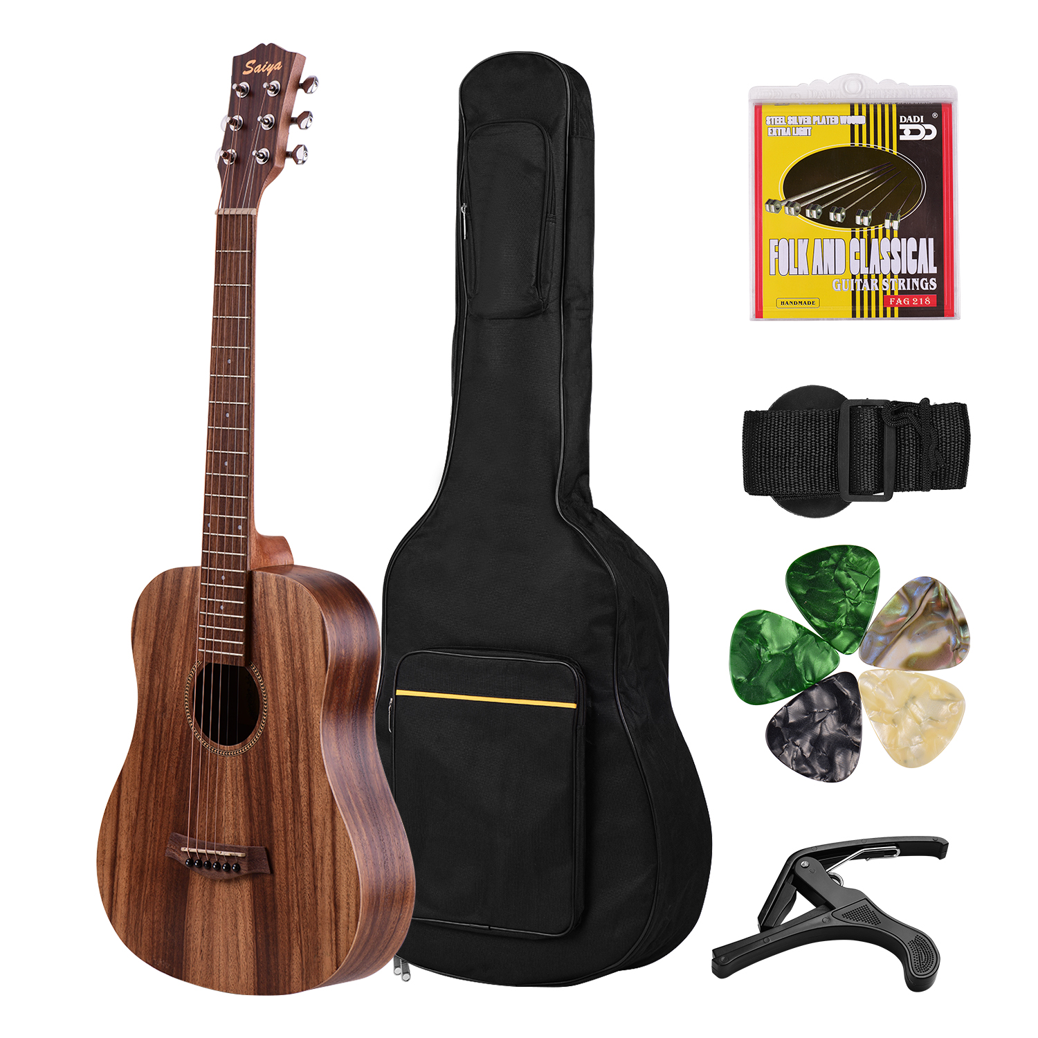 Acoustic Guitar 34 Inch Teakwood Material Guitar with Gig Bag Strap Spare Strings Capo Picks Guitars Kit for Beginners image