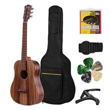 Acoustic Guitar 34 Inch Teakwood Material Guitar with Gig Bag Strap Spare Strings Capo Picks Guitars Kit for Beginners