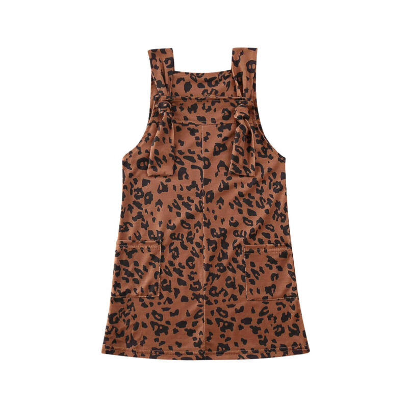 Toddler Kids Baby Girls Clothes Leopard Suspender Dress Summer Outfits 1-6Y