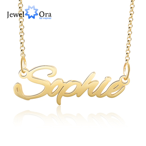 Personalized Copper Custom Made Nameplate Pendant Necklace 3 Colors Women Customized Letter Necklaces Anniversary Jewelry