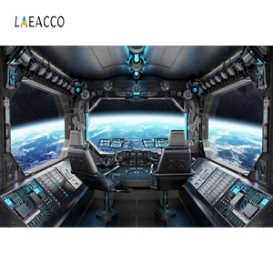 Image 2 - Laeacco Birthday Photography Backgrounds Universe Space Capsule Spaceship Little Astronaut Photo Backdrops For Photo Studio Prop