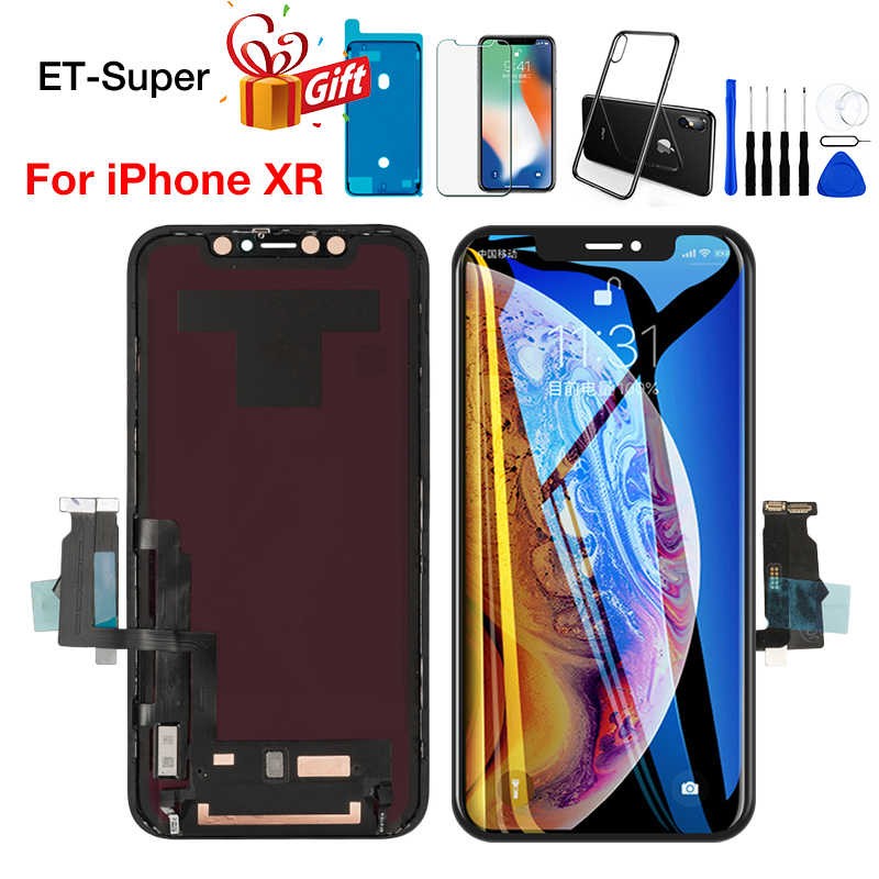 Categoria aaa + + + tela lcd para iphone xr display com 3d toque digitador aseembly substituição preto nenhum pixel morto + presentes gratuitos