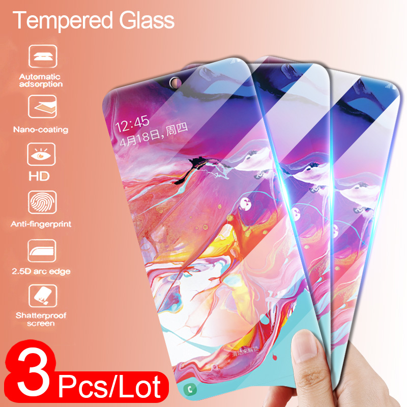 3Pcs Protective Glass For Samsung Galaxy A50 A40 A20 Screen Protector For Samsung M10 M20 M30 A30 A70 A80 A90 A10 Tempered Glass