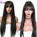 Pelucas de pelo humano con encaje recto transparente con flequillo para mujeres negras 13x4 peluca brasileña Remy negro Natural HD Peluca de encaje