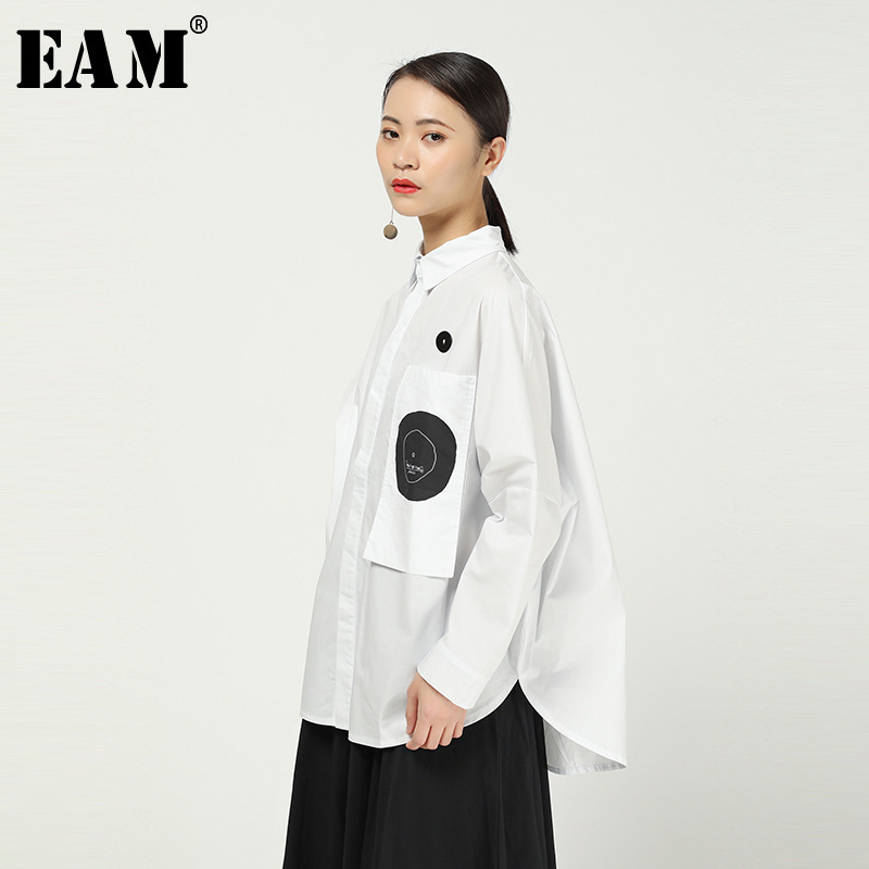[EAM] Women White Pattern Print Big Size Blouse New Lapel Long Sleeve Loose Fit Shirt Fashion Tide Spring Autumn 2020 1R056