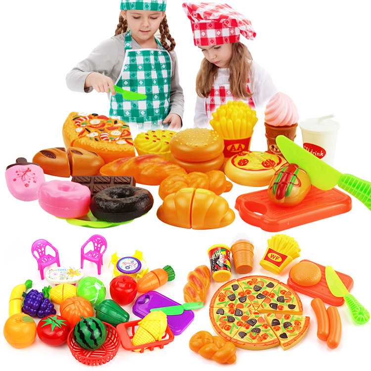 Children Play House Kitchen Tableware Set Cut Fruit Cutter & Vegetable Happy Earnestly Model Tableware Pizza Toy