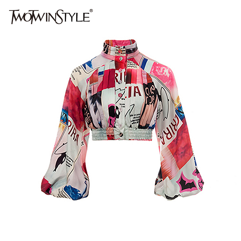 TWOTWINSTYLE Print Ruched Blouses For Female Turtleneck Lantern Long Sleeve Hit Color Women's Shirts Fashion Clothing 2019 Tide