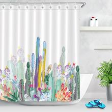 Tropical Plant Cactus Shower Curtain Waterproof Polyester Fabric Bath Curtain Bathroom Decorations Mildewproof Shower Curtains unique mandala mildewproof shower curtain