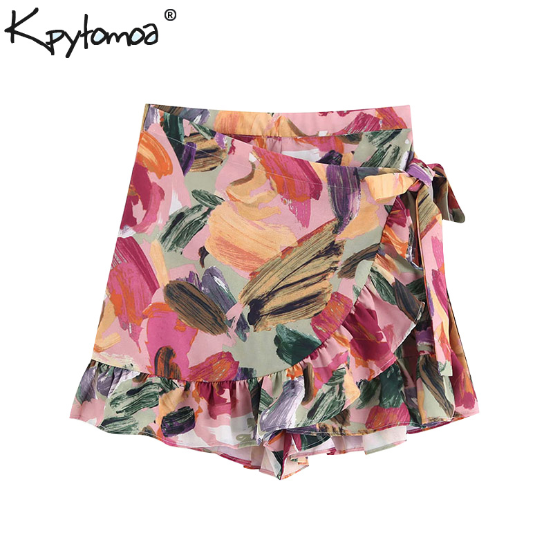 Vintage Stylish Floral Print Ruffles Shorts Skirts Women 2020 Fashion High Waist Side Bow Tie Sashes Zipper Skort Pantalones