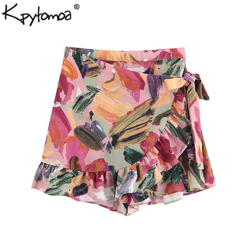 Vintage Stylish Floral Print Ruffles Shorts Skirts Women 2020 Fashion High Waist Side Bow Tie Sashes Zipper Skort Pantalones