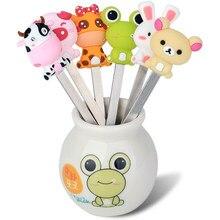 Garfos de comida para crianças, 6 pçs/set, desenhos animados, animal, frutas, lanches, garfos, acessórios de cozinha